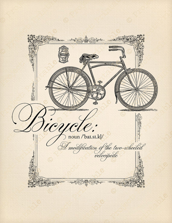 BICYCLE Instant Download Printable Clipart Bike.