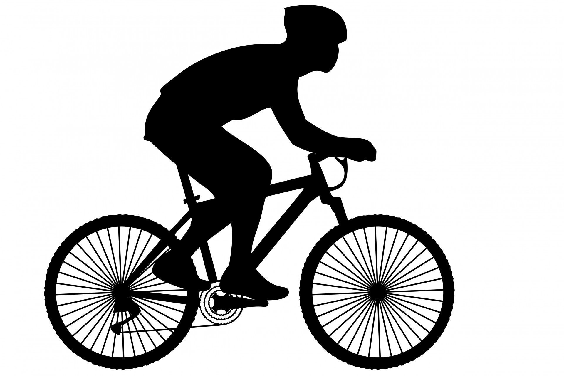 Black silhouette of a cyclist on a racing bike clipart.