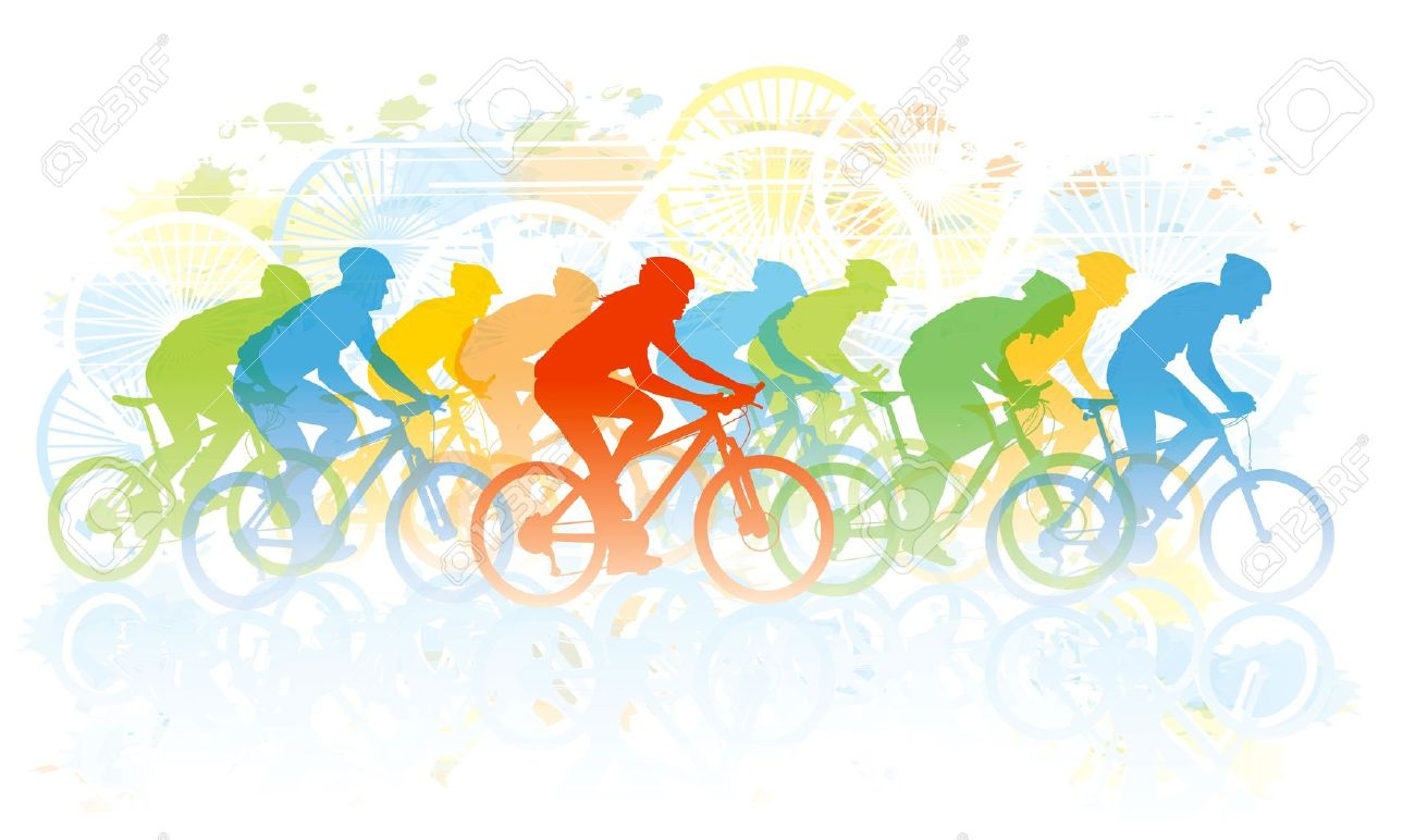 Group Bike Riding Clipart.