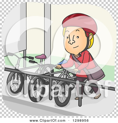 Clipart of a Cartoon Blond White Man Parking His Bike at a Rack.