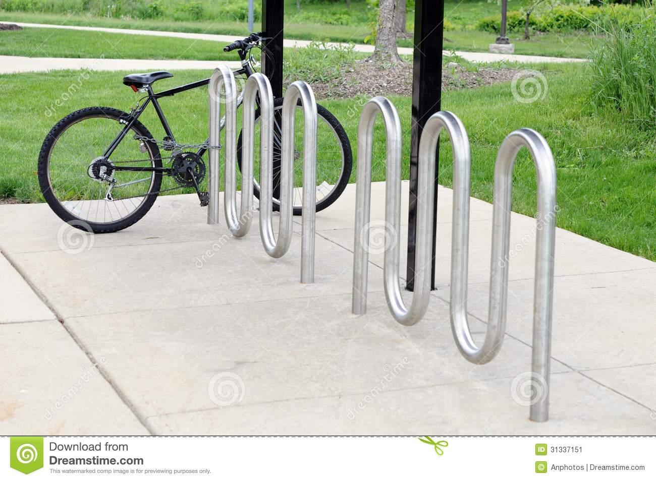 Bike Rack In Campus Stock Photos.