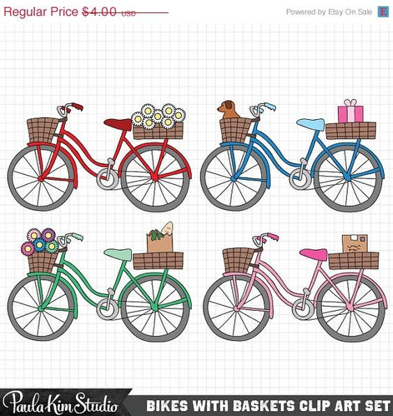 Bike Clipart, Cute Clip Art Set, Bicycle Clip Art Images.