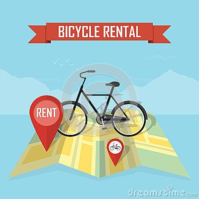 Bike Rental Service Vector Stock Vector.