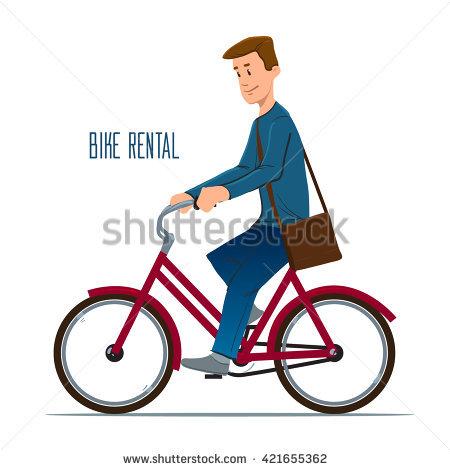 Man Riding Bike Vector Illustration Stock Vector 302300354.