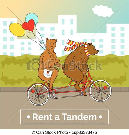 Vectors Illustration of Couple on a tandem bicycle. Advertising.