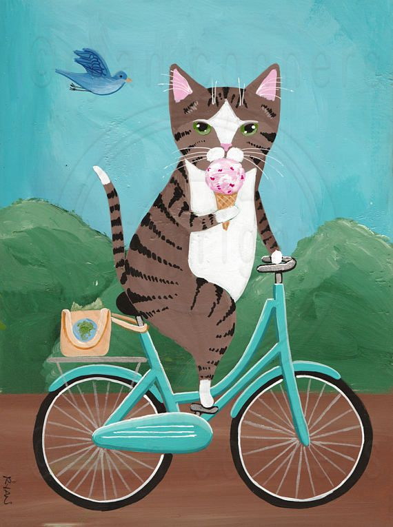 CAT Art Brown Tabby on a Bicycle Eating Ice Cream Original.