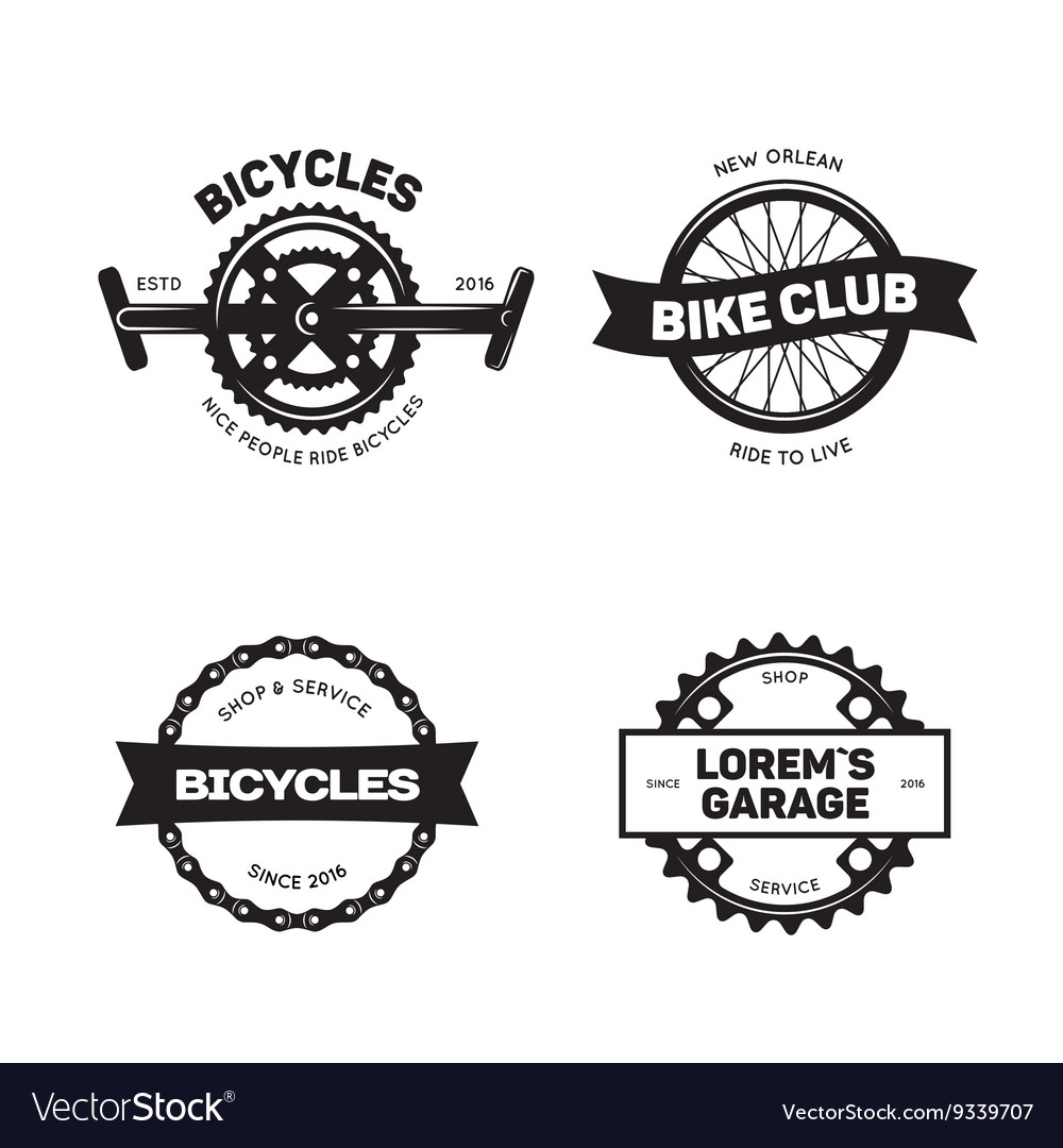 Set of vintage and modern bike shop logo badges.