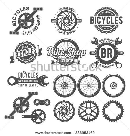 Set of vintage and modern bicycle shop logo badges and.