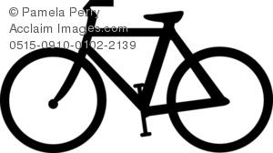 Clip Art Illustration of a Ten Speed Bike Silhouette.