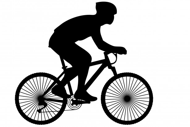 Cyclist Black Silhouette Clipart Free Stock Photo.