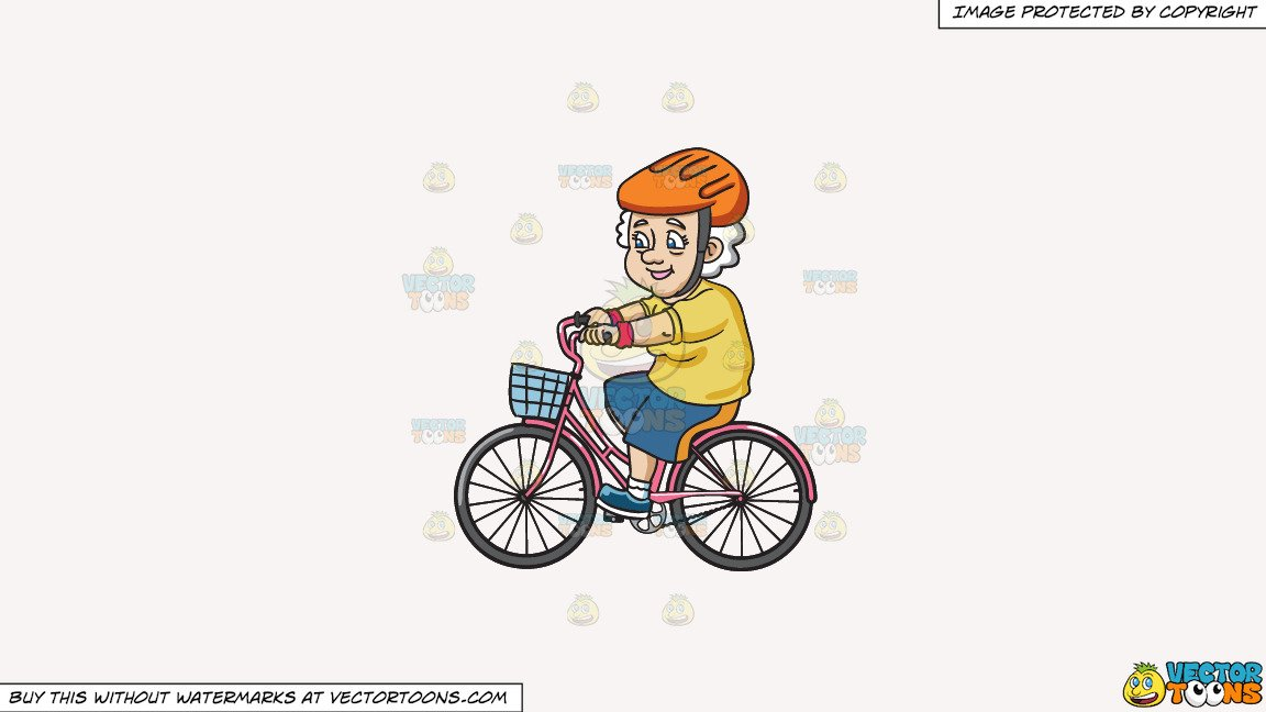 Clipart: A Female Senior Citizen Looking Sporty While In A Bike on a Solid  White Smoke F7F4F3 Background.