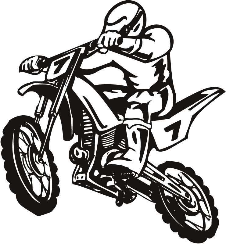 Blue Dirt Bike Clipart.