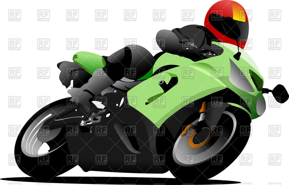 Biker riding on a sports bike Vector Image #51612.