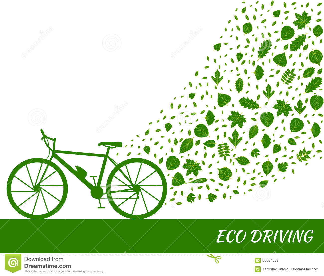 Eco Driving Concept In Green Colors. Bike And Trail Of Tree Leaves.