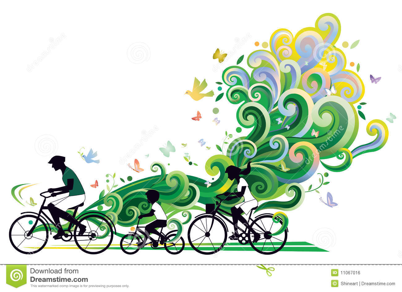 Family bike ride clipart.