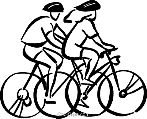 people going for a bike ride Royalty Free Vector Clip Art.