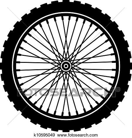Vector bike wheel black silhouette Clip Art.