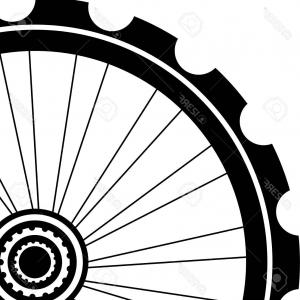 Bike Wheel Black Silhouette Vector.