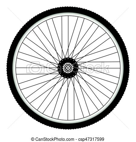 Rear bicycle wheel with spiked bicycle tire.