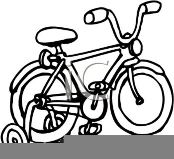 Bicycle With Training Wheels Clipart.