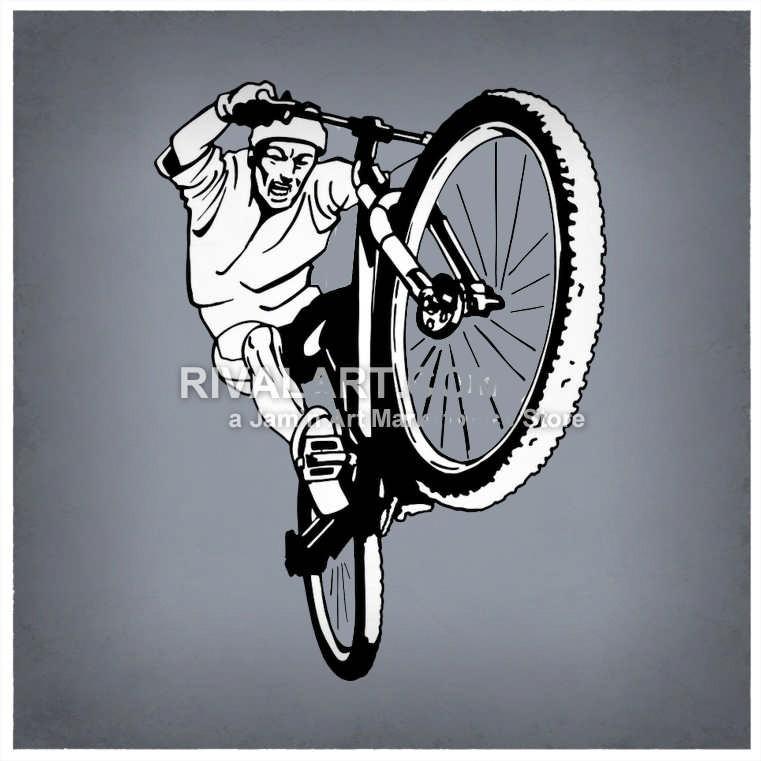 Bike Rider Popping A Wheelie.