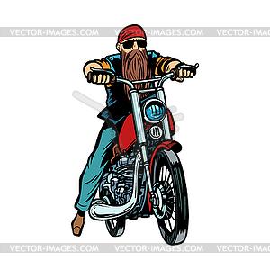 Biker bearded man on motorcycle isolate.
