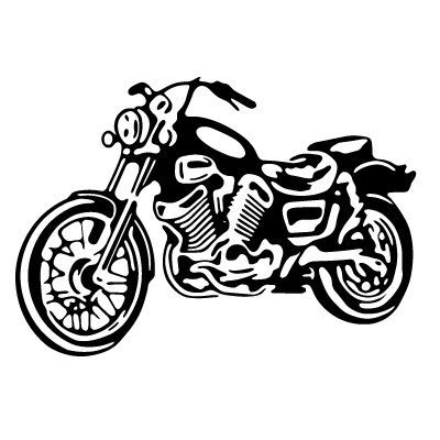 Motorcycle Clip Art Black and White.