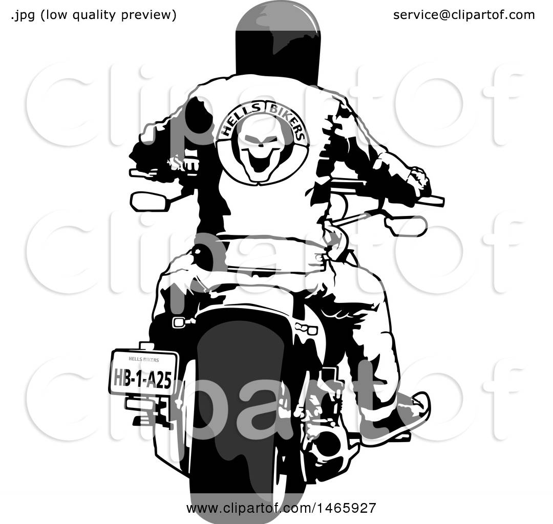 Clipart Of A rear view of a biker on a motorcycle.