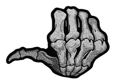 Skeleton Thumbs Up Embroidered Iron On Patch.