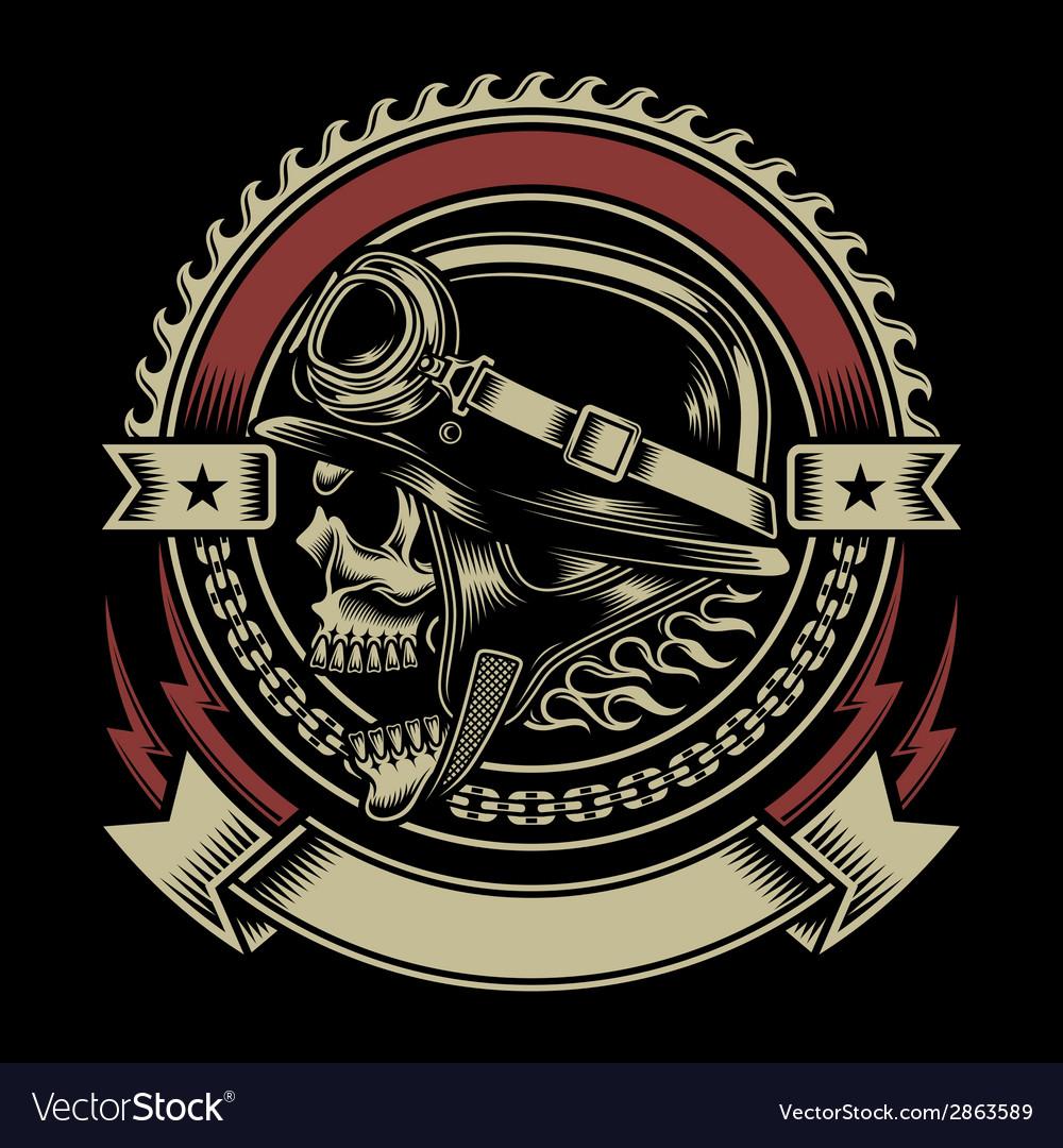 Vintage Biker Skull Emblem.