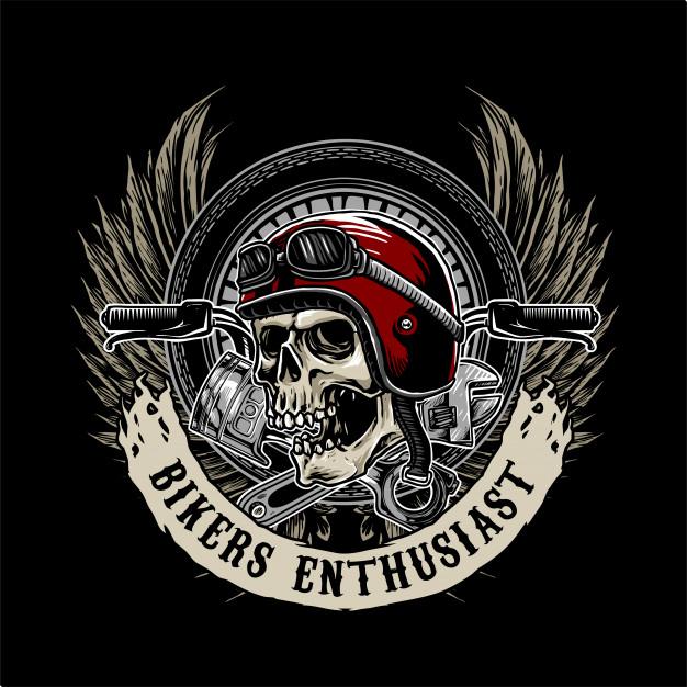 Biker skull logo Vector.