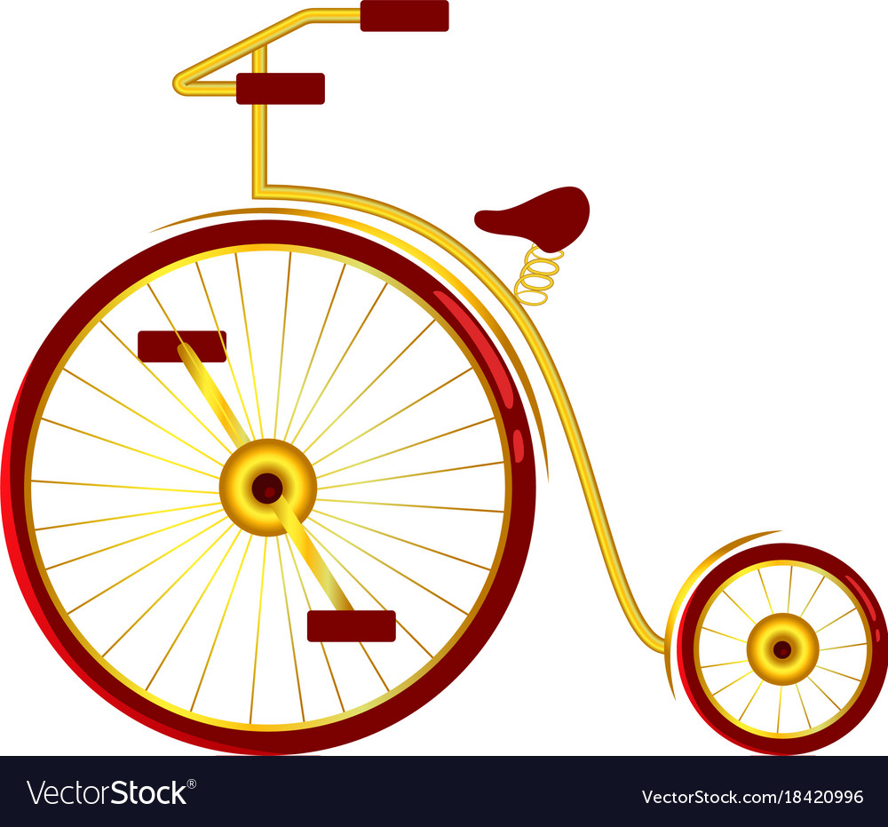Circus bike with big and small wheels vector image.