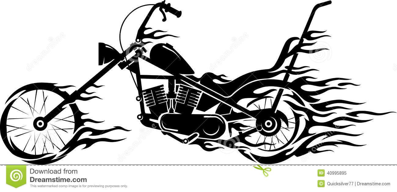 Photo about Isolated chopper motorcycle side view with.