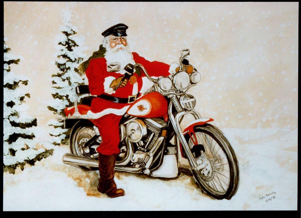 Santa on motorcycle image.