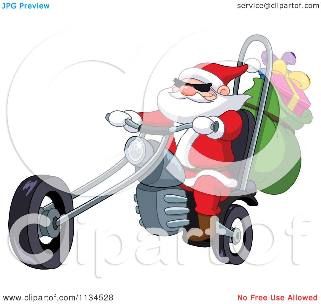 Cartoon Of Santa Riding A Chopper Motorcycle.