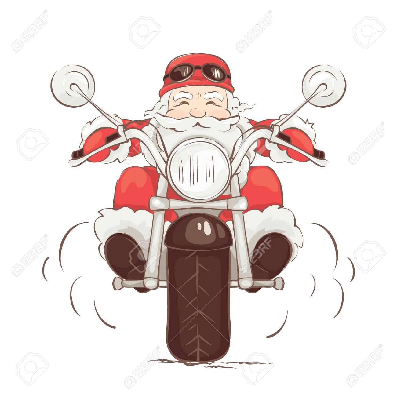 Santa biker / Vector illustration, card.