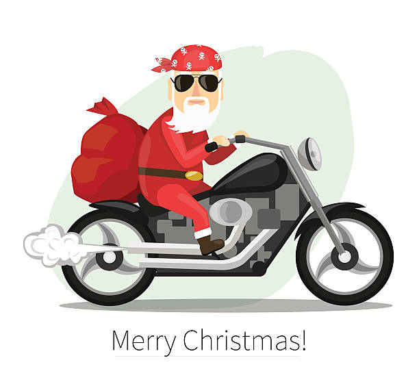 Best Santa On A Motorcycle Illustrations, Royalty.
