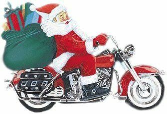 Santa on motorcycle.