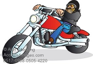 Clipart Illustration of Bearded Biker Riding a Honda Magna.