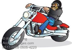 Clipart Illustration of Bearded Biker Riding a Honda Magna.