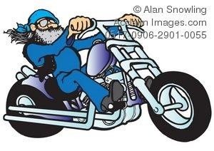 Clipart Illustration of Cool Biker on Chopper.