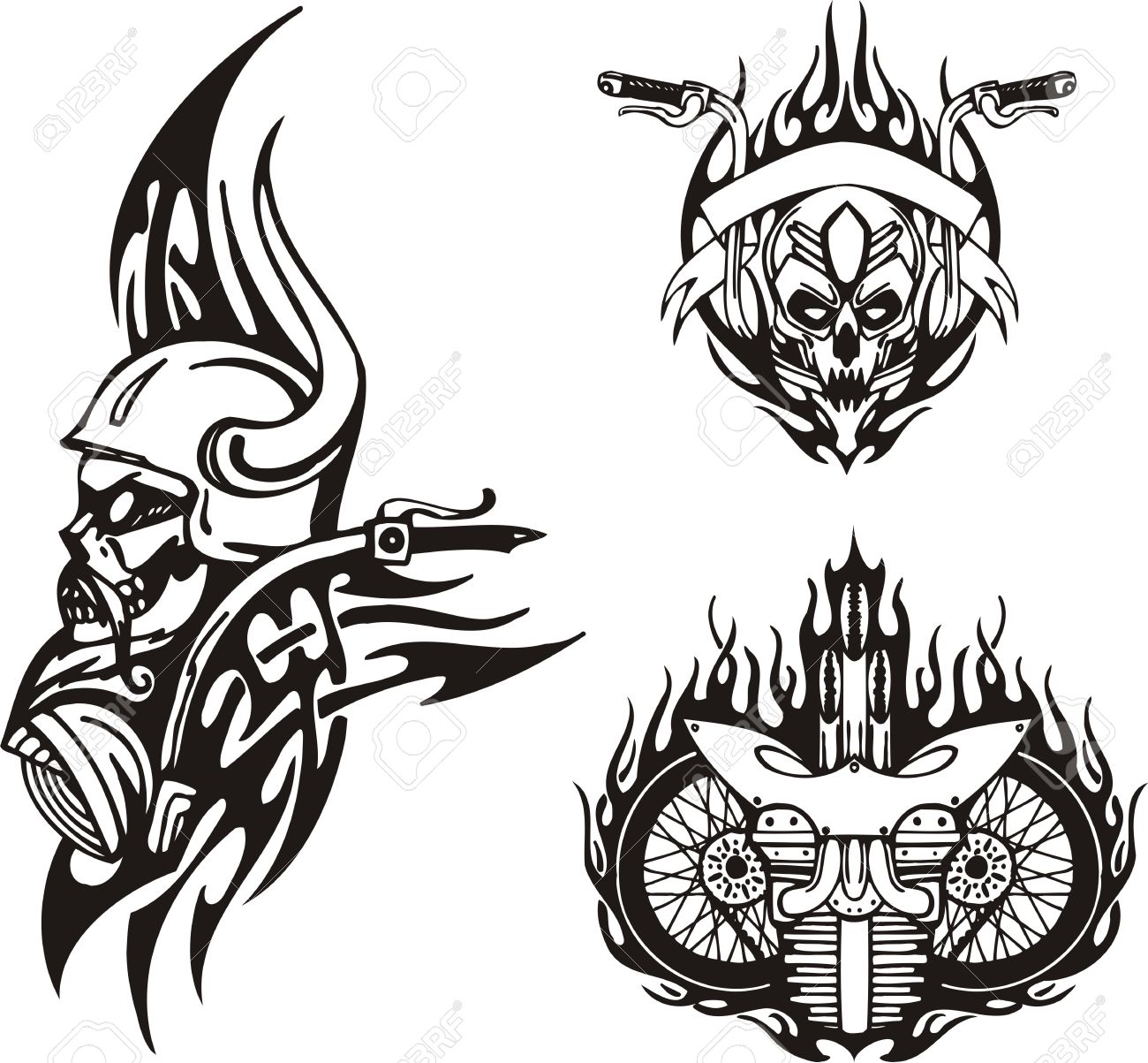 Skull In A Horned Helmet, Motorcycle Wheels. Tribal Bikes. Vector.