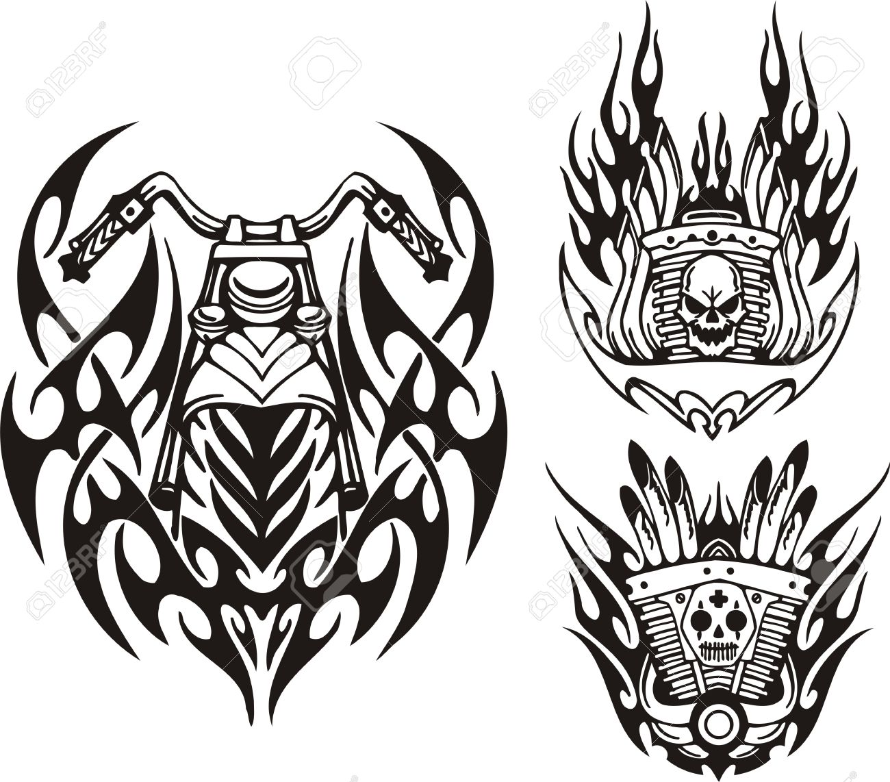 Skull, Demon And Motorcycle Wheel. Tribal Bikes. Vector.