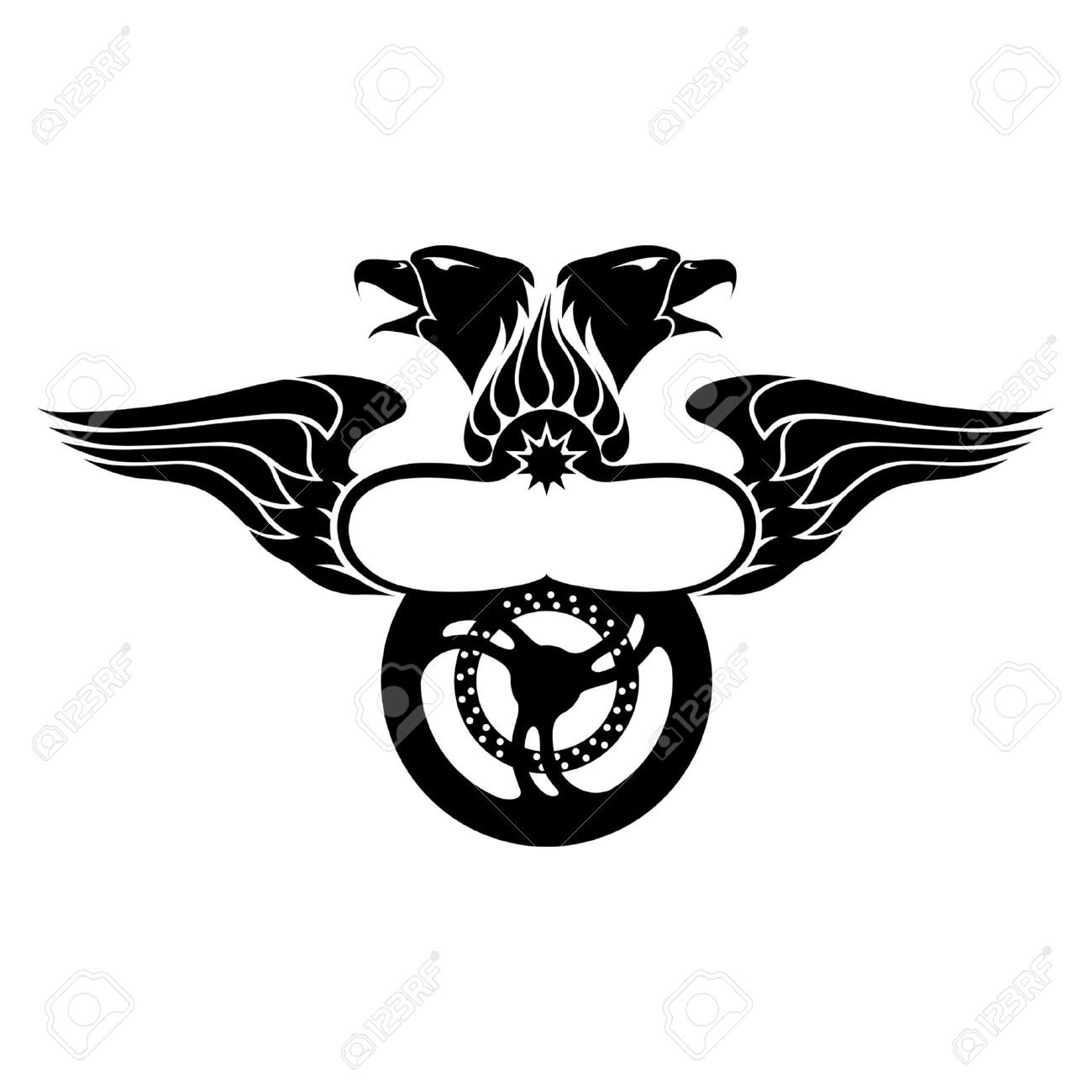 Emblem With Wing, Eagles, Fire And Motorbike Wheel Royalty Free.