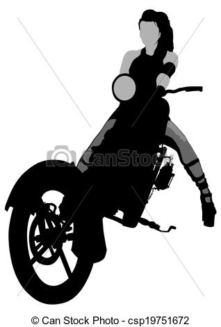 Vectors Illustration of Beauty bikers women and retro motorcycle.