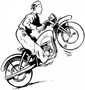 Black And White Cartoon Motorcycles Clipart.