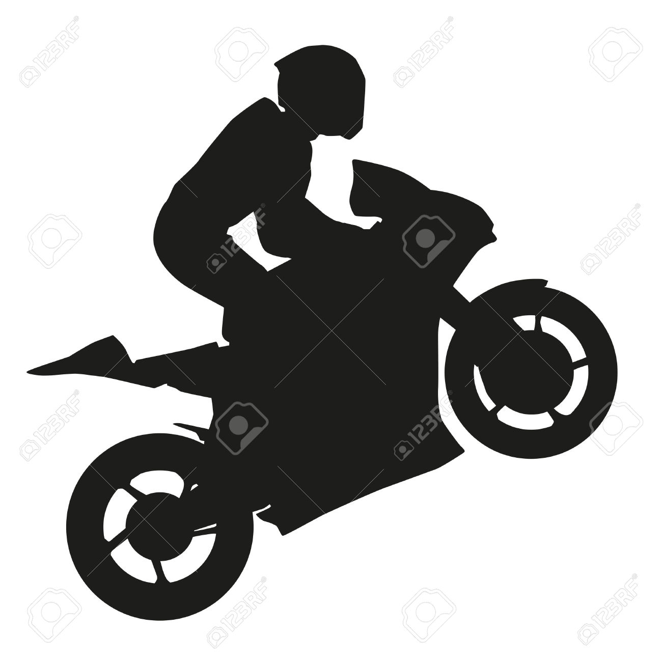 Biker Rider Lifts The Front Wheel. Vector Silhouette Royalty Free.
