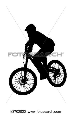 Stock Illustrations of mountain biker silhouette k3702800.