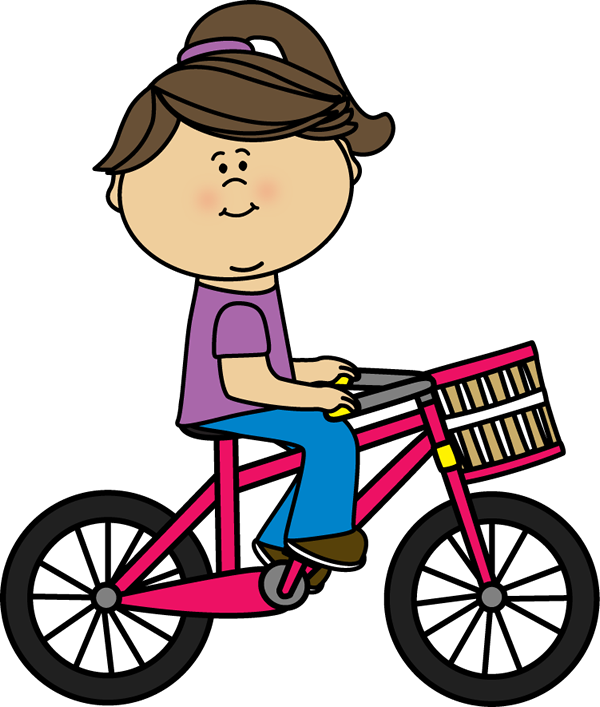 Girl riding a bicycle with a basket.