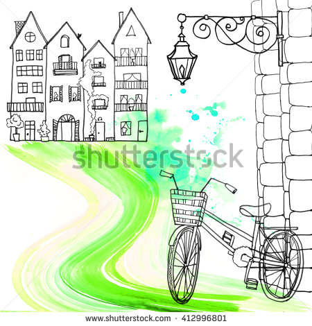 Seamless Pattern Retro Bicycle Old City Stock Vector 490536424.